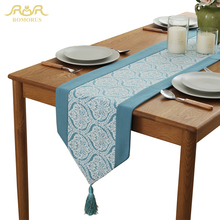 ROMORUS New Modern Navy Blue Table Runner for Home Decoration Tea Table Decorative Covers Table Runners with Tassel High Quality