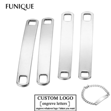 FUNIQUE New Silver Stainless Steel Connectors Blank Plates Hand Stamping Tags Engraved DIY ID Bracelet Necklace Jewelry Making