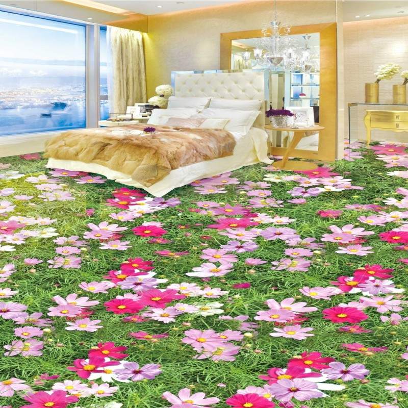 Free shipping photo thickened waterproof flooring chinese style wear non-slip vintage HD flowers bloom 3D floor mural wallpaper<br>