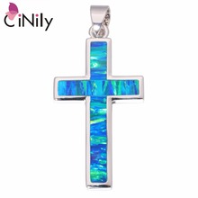 "CiNily Created Blue Orange Fire Opal Silver Plated Wholesale HOT Cross for Women Jewelry Pendant 1 3/4"" OD6728-29(China)"