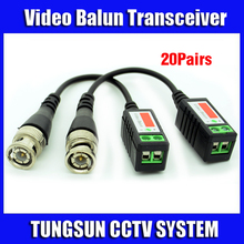 20Pairs/Lot Twisted BNC Cat5 UTP Video Balun Passive Transceivers CCTV Camera up to 3000ft Range Free shipping