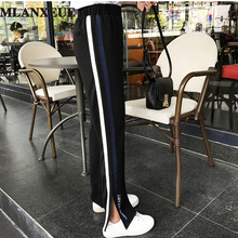 2017 Spring Hot Side Stripes Wide Leg Pants Female Loose Stripes Leisure Trousers Speaker Slim Split The Fork Straight Trousers