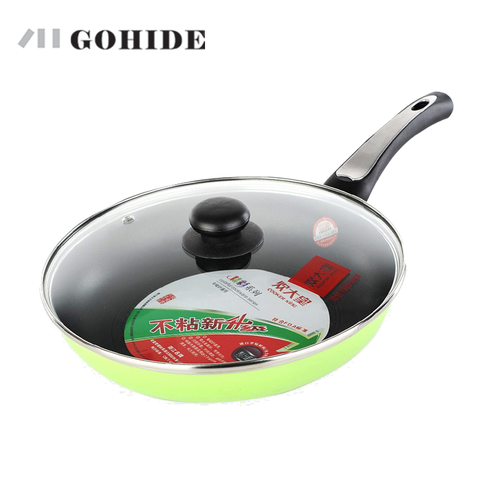 GOHIDE Super Honeycomb design flat bottom pot frying pan kitchen catering cooking pot pan with lid electromagnetic gas stove use(China (Mainland))