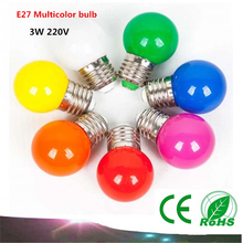 1PCS E27 LED light bulbs 3W AC220V LED multicolor lights indoor and outdoor decorative lighting energy saving lamps Colorful