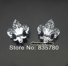50PCS 8MM Clear Rhinestone Lilies Flowers Slide charms Slide Letters Fit 8mm Belts Bracelets Pet Collars(China)