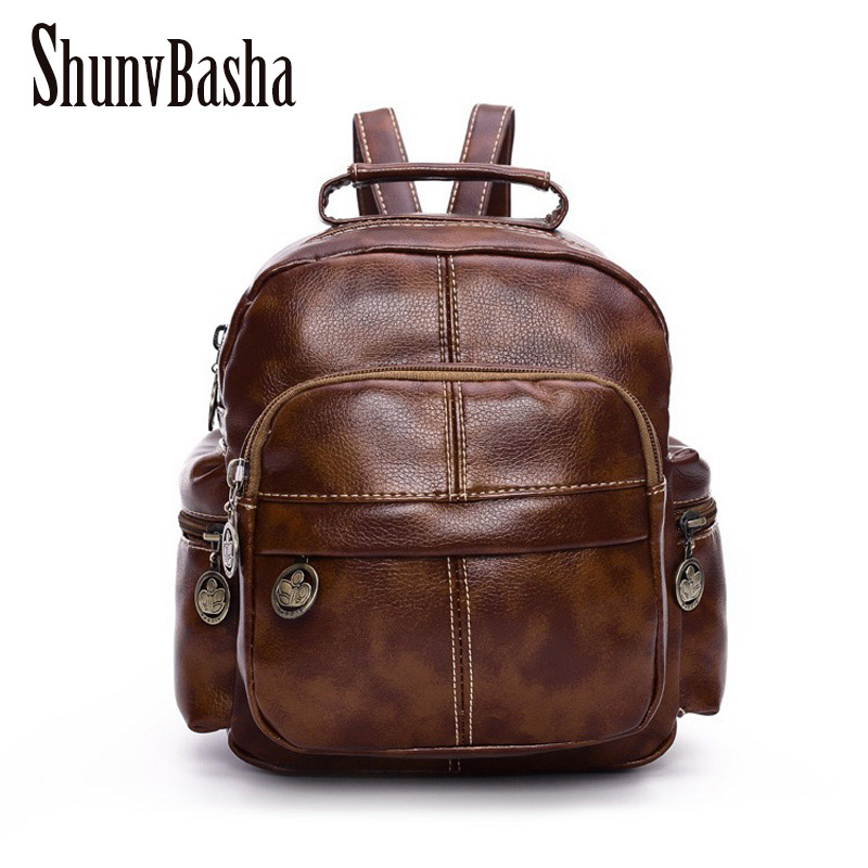 Simple Style Backpack Women PU leather School Bag For Teenage Girls Fashion Vintage Small Rucksack Backpack Designer mochila <br><br>Aliexpress