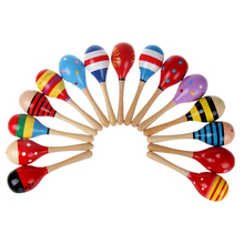 LOVELY Random Color!! 10 PCS Wooden Maraca Wood Rattles Kids Musical Party favor Child Baby shaker Toy(China)