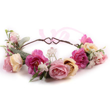 Fashion New Women Bohemia Handmade Flower Crown Wedding Wreath Bridal Headdress Lady Headband Princess Hair Band Accessories F2