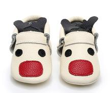 Hot New Christmas reindeer baby moccasin shoes Fancy unique toddler baby shoes newborn First Walker boot soft soled(China)