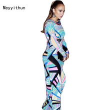 Free shipping Newest  Blue Printed Stretch Jersey Long sleeve Maxi Dress Long Dress  0914EP313C
