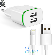 XINNIER USB charger For iphone cable 5V 2.1A  Fast Charging Eu 2 Ports LED Light Wall Power Adapter For iPhone 5  6plus 7 ipad