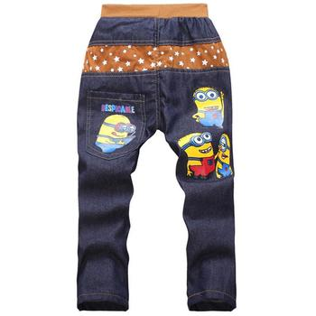 Kids 2017 Fashion Minion Clothes Girl/Boys Jeans For Children Slim Casual Pants