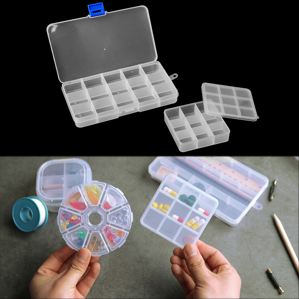 2PCS Plastic White Clear Jewelry Box 8/9/15 Slots Beads Ring Earrings Display Storage Boxes Portable Carring Cases