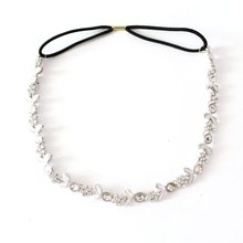 Lady's Stylish Silver Plated Crystal Flower Elastic Hair Band Headband(China)