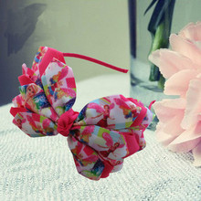 "14pcs New Arrival Three layers characters princess print ribbons madeHeadband 4.5-5"" Angel Wing Bow Hand Customize Free Shippin"