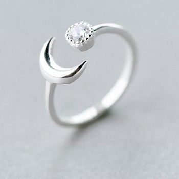 1Pcs Hot Sale Simple 925 Silver Open Crescent Moon Knuckle Finger Ring Women Knuckle Half Moon Crystal Ball Ring Free Shipping