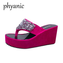 Buy Phyanic Bling Women Flip Flops Wedge High Heels Platform Woman Slipper Beach Sandals Summer 2018 New Ladies Thick Bottom Shoes for $15.30 in AliExpress store