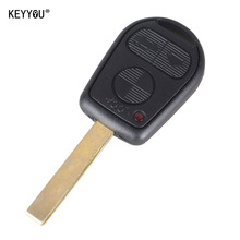 KEYYOU Uncut Blade Key Remote Fob Case Replacement Car Key Shell Cover Keyless Fob Rubber Housing for BMW 3 buttons