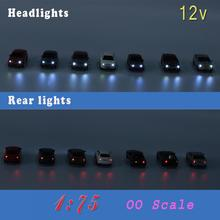 12PCS Head light Train layout 1:76  OO Scale Model Lighted Cars With 12V LEDs Lights for Building Layout EC75  railway modeling