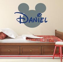 Hot sale Mickey Mouse Bathroom Decoration Cartoon Cute glass Wall Stickers Custom Kids Name Baby Wall Decals Free shipping D662
