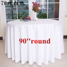 Free Shipping 10pcs 90'' White Polyester Visa Round Table Cloths Banquet Wedding Table Covers Polyester Table Linens