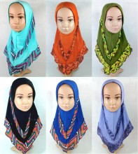 Fashion Children Kids Girls Flower Muslim Hijab Islamic Scarf Arab Shawls Headwear(China)
