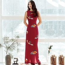 XXL Fashion Women's Long Pencil Dress 2017 Summer Ladies Abstract Print Sleeveless Sexy Back Split Red Dress Tube Party Ladies