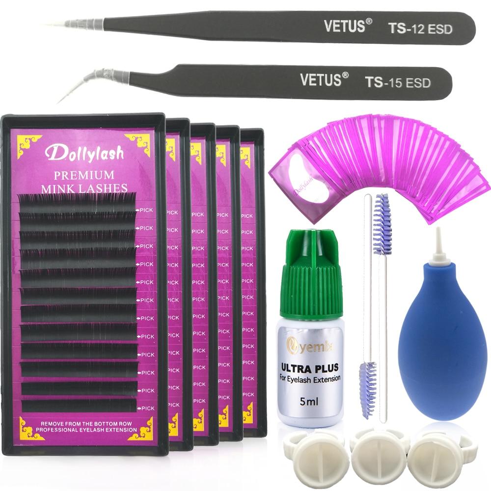 Dollylash Apply Single Eyelashes Extension Sets Lash Glue Tweezer Lash Lint free Eye patch Kit Individual Eye Lash Extension Kit<br>