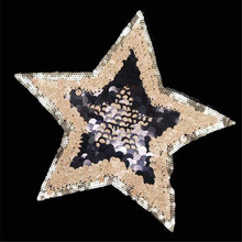 1Pcs Fashion Designs 24cm Stars Golden Logo Embroidered Patches Clothes Sequins Patch DIY Hotfix Motif Applique Free Shipping(China)