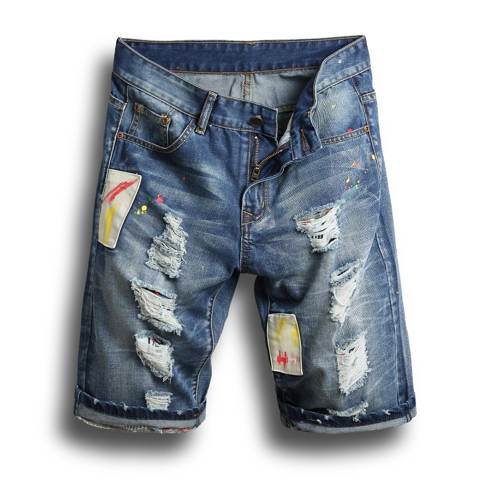 6cac2462b6 10 Styles Design 2018 Summer Ripped Denim Jeans Shorts Men Blue Knee Length  Casual Hole Jean | CoolTogs