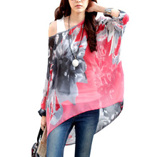 Fashion 2017 Women Blouse Summer Bohemia Floral Printed Shirts Women's Casual Half Sleeve Chiffon Blouses Ladies' Tops #JO(China)