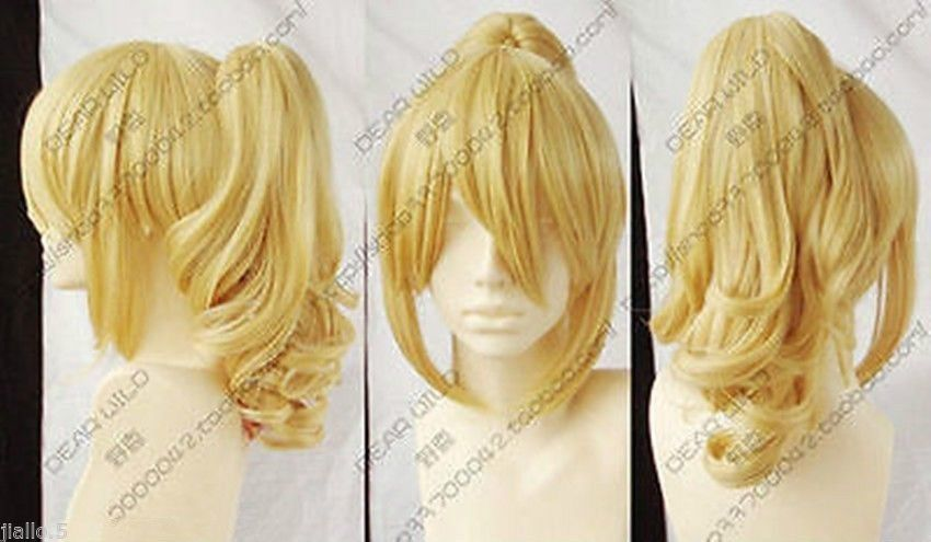 heat resistant Party hair &gt;&gt;&gt;NEW Fashion Popular long Blonde Cosplay Wig With Ponytail Z8885<br><br>Aliexpress