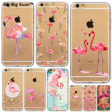 Hot Selling Soft Flamingo Phone Case For Apple iphone 6 6s Plus 5 5s SE Transparent Silicon Back Skin Covers Fundas Capa Celular