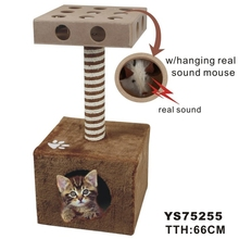 Domestic Delivery Cat Scratcher Climbing tree Kitten Playing With IQ Box Board On The Top Hanging Real Sound Mouse Cat Furniture