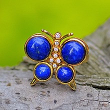 6.2CT Blue Natural Lapis Sterling Silver Butterfly 18K Gold Plated Ring Open Size