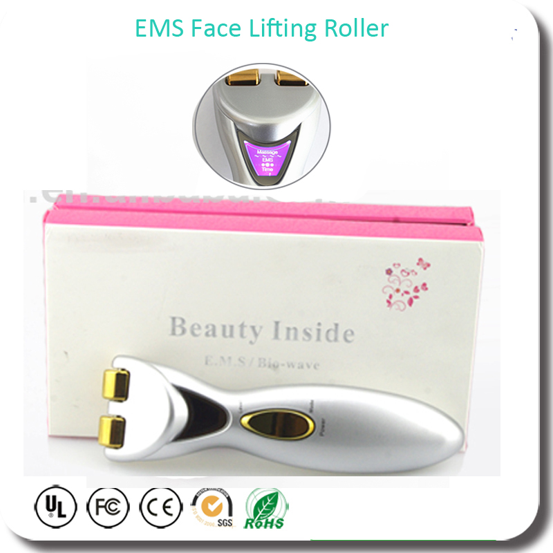 Electric Skin Muscle Stimulation EMS Titanium Face Lifting Skin Tightening Double Chin Wrinkle Removal Firming Massager Roller<br>