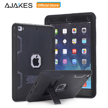 AJAKES for New iPad 9.7 2017 Case Cover Kids Safe Shockproof Heavy Duty Armor Rugged Drop Resistance 3 In 1 Silicone Hard Case(China)