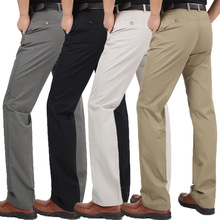 Men's Clothing Casual Pants 100% Pure Cotton Formal Trousers Chino Pants Fashion Business Solid Khaki Black Pants(China)