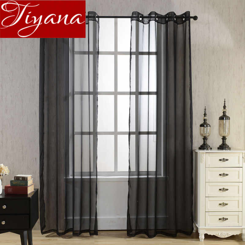 Solid Color Curtains Black Window Modern Living Room Balcony Kitchen Curtains Tulle Purple Sheer Fabrics Red Cortinas T&184#20
