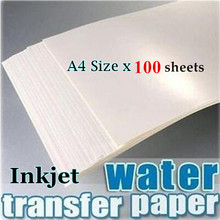 (100pieces/lot) 100 Water Slide Decal Paper A4 Size Inkjet Water Transfer Paper China Clear Color For Wood Candle(China)