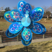 1 Pcs Cute Peacock Windmill Diy Outdoor Decorative Wholesale Manufacturers Selling Children Plastic Toys Laser Double Sequin(China)