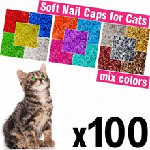 100pcs Soft Nail Caps for Cats + 5x Adhesive Glue + 5x Applicator /* XS, S, M, L, cover, cat, paw, claw, zot */(China)