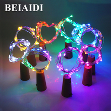 BEIAIDI 10pcs 2M 20Leds DIY Wine Bottle Copper Wire Fairy String Light Cork Stopper Starry Fairy Lights String Holiday Garland