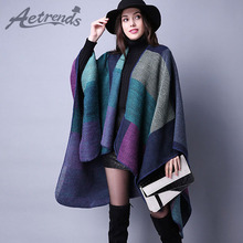 [AETRENDS] Women Poncho Retro Winter Ponchos and Capes Knitted Blanket Scarves Shawls Cape Cashmere Feel Scarf Dropshipping()