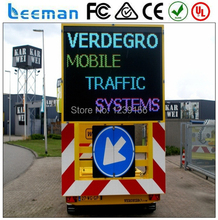 Leeman Mobile LED Dispaly Solar Speed Limit Traffic Signs Trailer VMS Solar Powered LED Full Matrix Trailer Mounted VMS C Size
