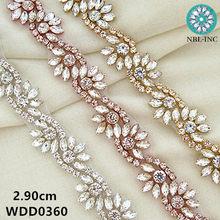 (10 yards) Bridal silver rhinestone applique trim rose gold beaded crystal  trim iron on for wedding dress WDD0360 fcfcbc5f11b7