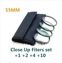 4 pcs 37 40.5 46 49 52 55mm Close up Macro +1 +2 +4 +10 SLR Lens Filter Kit Set For canon nikon sony 55mm Lens filter Camera