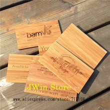 Engraving Wooden Business Card Handicraft Bamboo Name Card Fashion Sculpture Card For Commercial Male Women 100pcs/lot(China)
