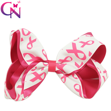 "30 Pcs/lot 5.5"" Breast Cancer Printed Ribbon Hair Bow With Clip For Kids Girls Teens Handmade Hairgrips Satin Hair Accessories"