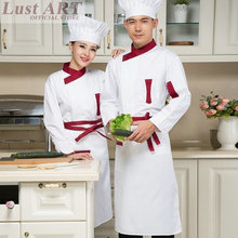 Food Service chef jacket white red black restaurant cook clothes hotel kitchen chefs clothing cook clothing B005